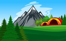 Vector mountain camping illustration Royalty Free Stock Image