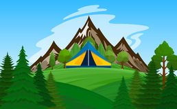 Vector mountain camping illustration Royalty Free Stock Photography