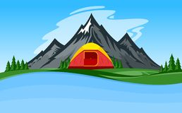 Vector mountain camping illustration Stock Image