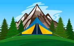 Vector mountain camping illustration Stock Photos