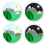 Vector. Mountain holidays icons. Holiday house. Summer house. Snow mountain camping.  illustration flat design. Perfect mountain holiday. illustration Royalty Free Stock Photography