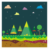 Vector Mountain landscape Forest Tourism blue background Stock Image