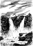 Vector mountain landscape with waterfall by hatching in eps, nat. Ure scetch, waterfall poster, eps vector illustration