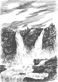 Vector mountain landscape with waterfall by hatching Stock Photography