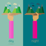 Vector Mountain night day nature arm and hand Stock Photos