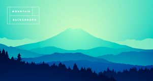 Vector mountain peak misty pine forest gradient. Vector illustration of a mountain peak with misty pine forest, gradient Stock Photography