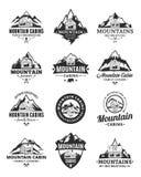 Vector mountain recreation and cabin rentals logo. Set of vector mountain adventures, outdoor recreation and cabin rentals logo vector illustration
