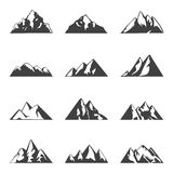 Vector mountain set. Simple black and white icons or design templates. Travel, hiking, camping theme. Stock Photography