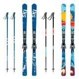 Vector mountain ski and sticks detailed on white background. Mountain skis and sticks sport equipment vector illustration