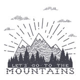 Vector mountain with texture. Sketch illustration with quote Royalty Free Stock Image
