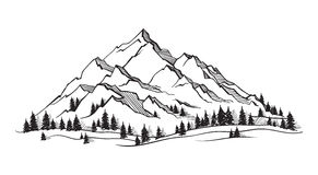 Free Vector Mountain With Texture. Royalty Free Stock Photography - 91013507