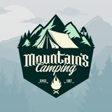 Vector mountains camping logo. Vector mountains camping and outdoor recreation logo. Tourism, hiking and campground badge vector illustration