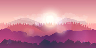 Vector mountains and forest landscape early on the sunset. Stock Image