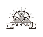 Vector mountains line hipster logo, icon, badge Stock Image
