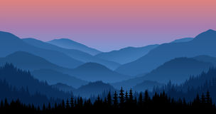 Vector mountains morning landscape seamless background. Royalty Free Stock Photo