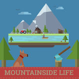 Vector mountainside life illustration. Flat minimal infographic style landscape forest mountain Royalty Free Stock Images