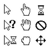 Mouse cursors. Vector Mouse cursors over white: hand drag arrow pointer Royalty Free Stock Images
