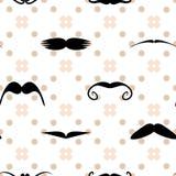 Vector moustache polka dot seamless pattern Royalty Free Stock Image