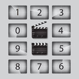 Vector Movie countdown numbers set with clapperboards in different positions. Stock Photo