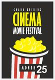 Cinema movie festival poster with popcorn bucket. Vector movie festival poster with popcorn bucket on the black background. Cinema snack. Cinema banner with Royalty Free Stock Photos