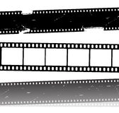 Vector movie film strips. Vector illustration with three different movie strips, with one with frames and two grunge eroded. related to cinema and video industry Stock Images
