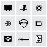 Vector Movie icon set. On grey background Royalty Free Stock Photos