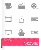 Vector movie icon set. On grey background Royalty Free Stock Image
