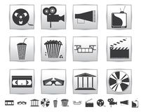 Vector Movie icons. Film and square gray Stock Images