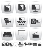 Vector Movie icons. Film and square gray. Vector Movie icons. Film and projector screen icons Royalty Free Stock Photos