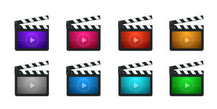 Vector Movie Production Clapboard. In 8 Vivid Color Variations Stock Image