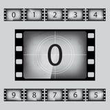 Vector movie retro countdown numbers set. Movie retro countdown numbers set. Vector illustration Royalty Free Stock Photos