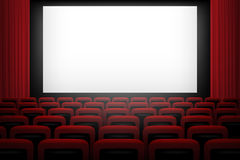Vector movie theatre background with white screen red curtains and chairs. Royalty Free Stock Photo