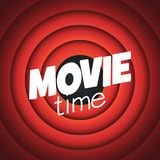 Vector movie time background with cinema Red Curtains and projector lights. Movie backdrop with text. Place vector illustration