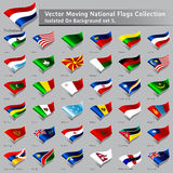 Vector moving National Flags of the world isolated Royalty Free Stock Images