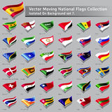 Vector moving National Flags of the world isolated Stock Photo