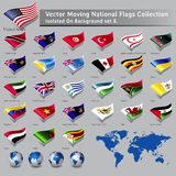 Vector moving National Flags of the world isolated Royalty Free Stock Photo