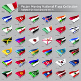Vector moving National Flags of the world isolated Royalty Free Stock Image