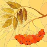 Vector mozaïekillustratie van lijsterbessentak. Stock Foto