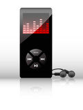 Vector mp3 player. Vector black mp3 player with earphones on white background Royalty Free Stock Photos