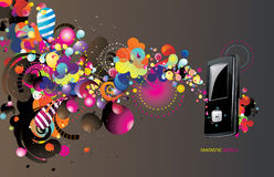 Vector mp3 player. Vector backgroun colors and mp3 player illustration Stock Photos
