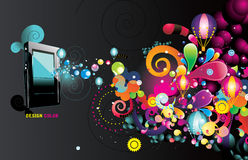 Vector mp3 player. Vector backgroun colors and mp3 player illustration Royalty Free Stock Image