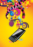 Vector mp3 player. Vector backgroun colors and mp3 player illustration Royalty Free Stock Photos
