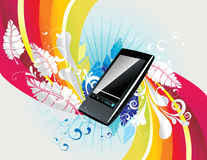 Vector mp3 player. Vector backgroun colors and mp3 player illustration Royalty Free Stock Photo