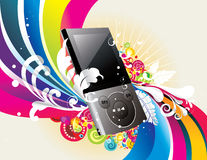 Vector mp3 player. Vector backgroun colors and mp3 player illustration Stock Image