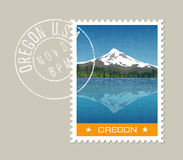 Vector of Mt. Hood behind lake with reflection. Oregon.