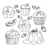 Vector muffin, creamy pie or tarts with strawberry and kiwi on cream topping. Cakes, cupcakes and pastry desserts. Vector muffin, creamy pie or tarts with Royalty Free Stock Image