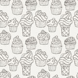 Vector Muffins Seamless Pattern. Cakes, Sweets. Stock Images