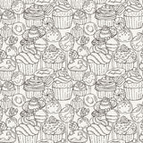 Vector Muffins Seamless Pattern. Cakes, Sweets. Stock Photography