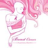 Vector a mulher calva após a quimioterapia com a fita cor-de-rosa no fundo com redemoinhos cor-de-rosa pontilhados Mês da conscie ilustração stock