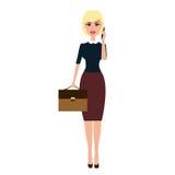Vector a mulher de negócio com uma pasta que fala no telefone Imagem de Stock Royalty Free